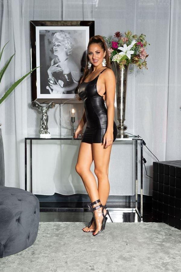 φόρεμα σέξι αμάνικο wet look μαύρο.