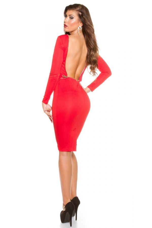 dress sexy open back red.