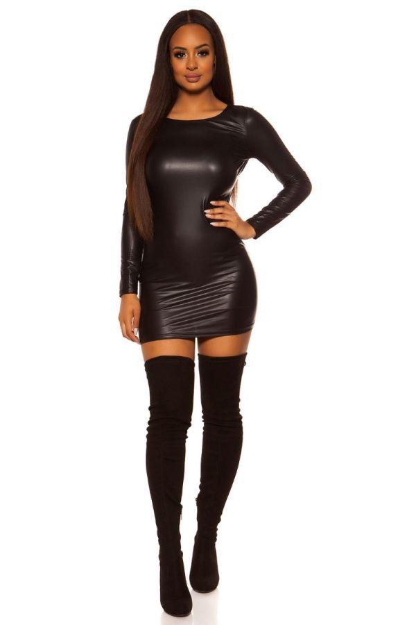 φόρεμα ανοιχτή πλάτη wet look μαύρο.