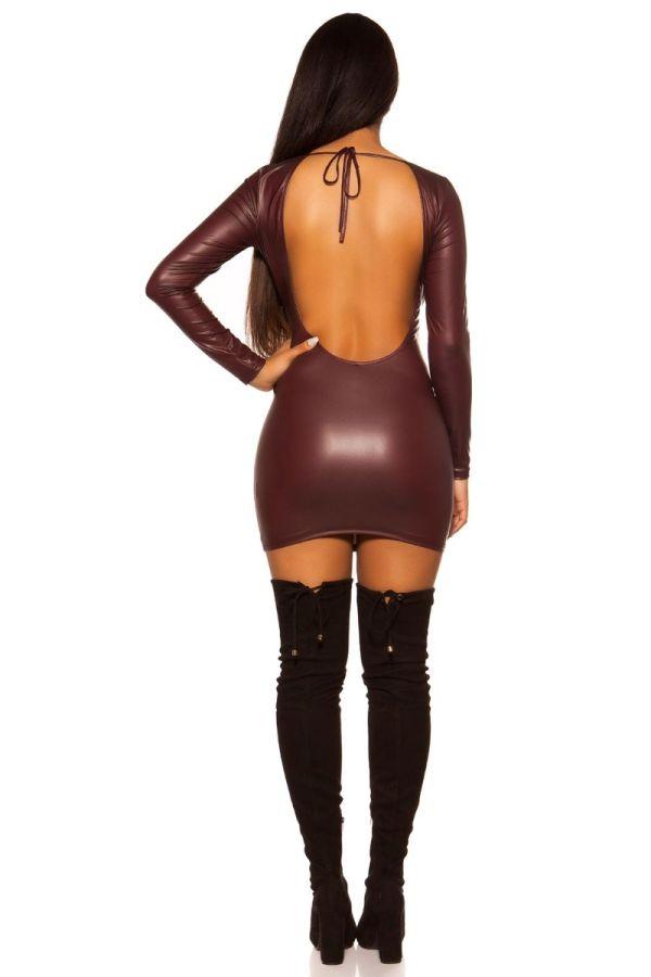 φόρεμα ανοιχτή πλάτη wet look μπορντό.