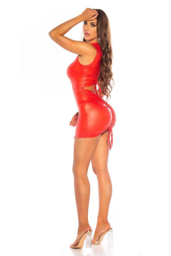 DRESS CORDS SEXY BACK WETLOOK RED ISDK202857