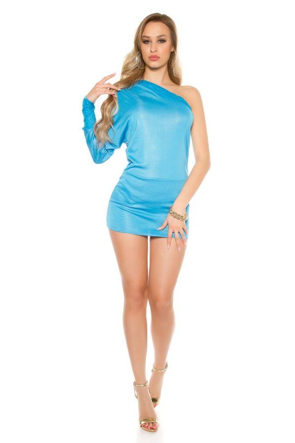 Φόρεμα Σέξι Ασύμμετρο Ένα Μανίκι Δαντέλα Τυρκουαζ ISDK40403