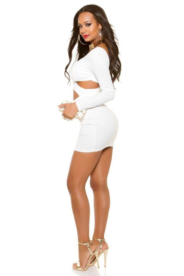 φόρεμα club σέξι εγκοπές άσπρο.
