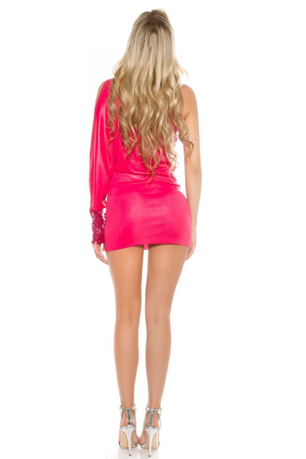 DRESS SEXY MINI ASYMMETRIC SEQUIINS FUCHSIA ISDK404236