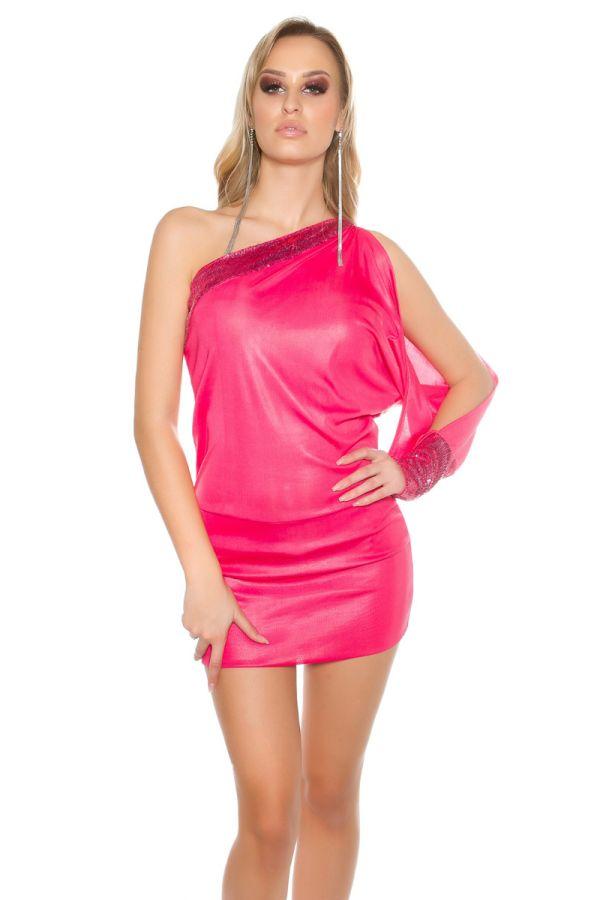 φόρεμα σέξυ μίνι ασύμμετρο παγιέτες φούξια.