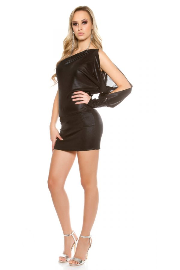 φόρεμα σέξυ μίνι ασύμμετρο παγιέτες μαύρο.