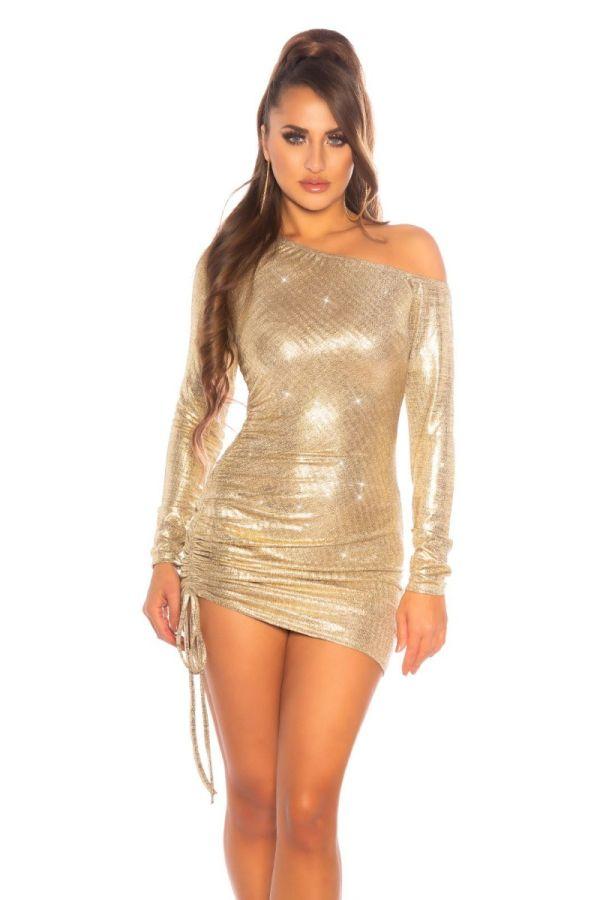 dress asymmetric one shoulder gold.