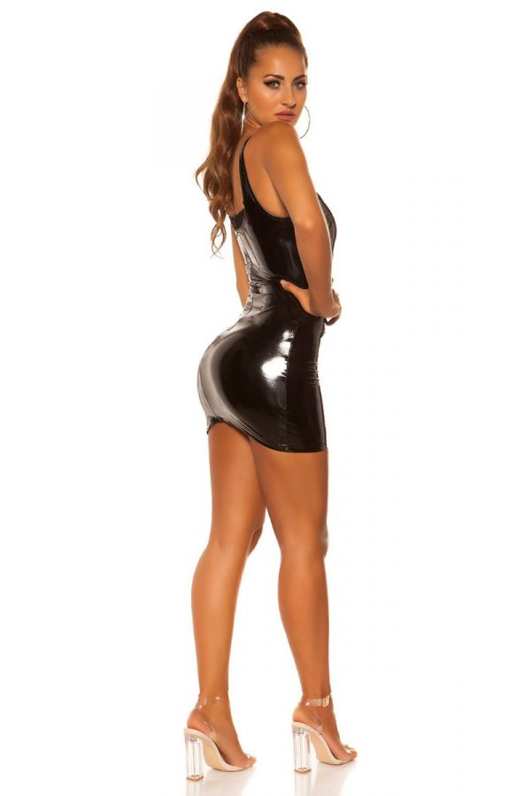 DRESS SEXY MINI VINYL BLACK ISDK200845