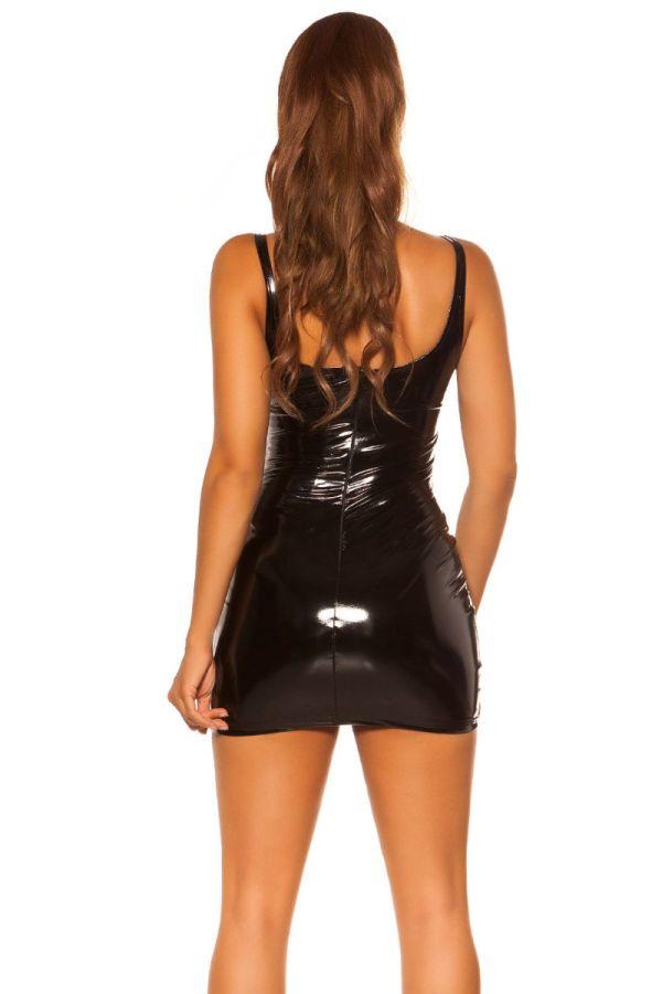 φόρεμα μίνι σέξυ βινύλιο μαύρο.