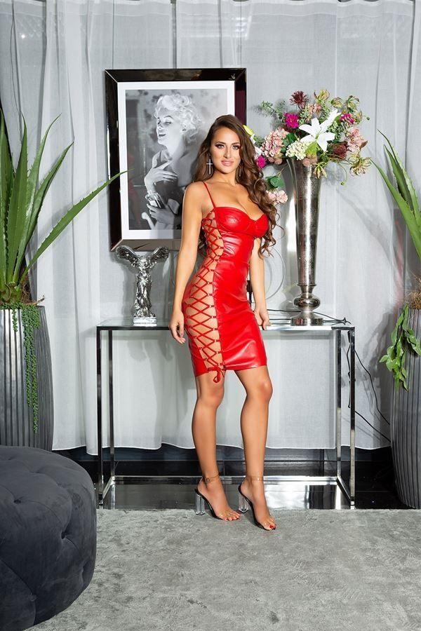 φόρεμα σέξι εγκοπές δερματίνη κόκκινο.