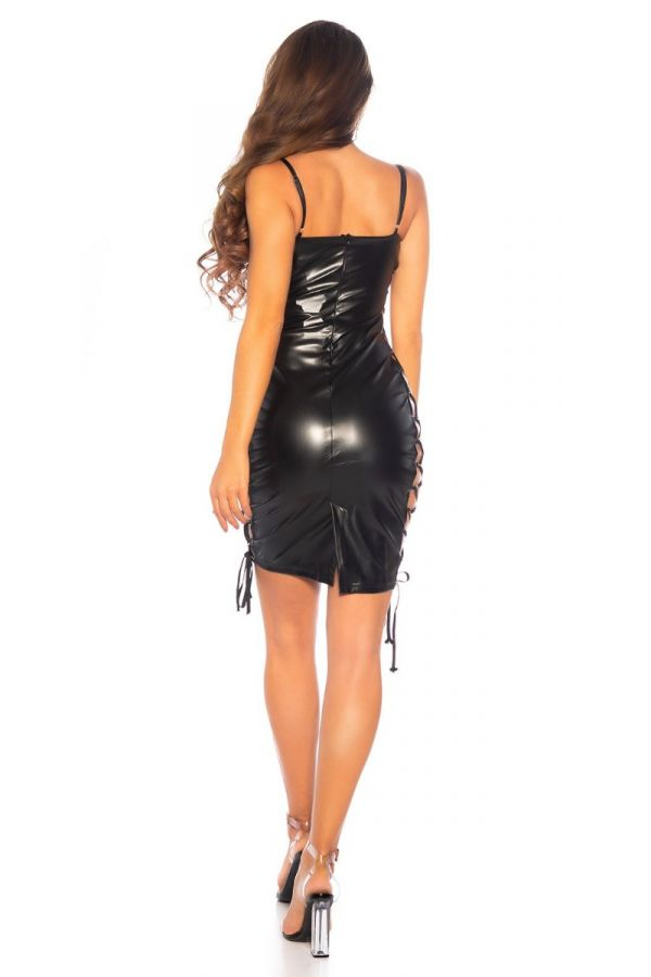 dress sexy cutouts leatherette black.