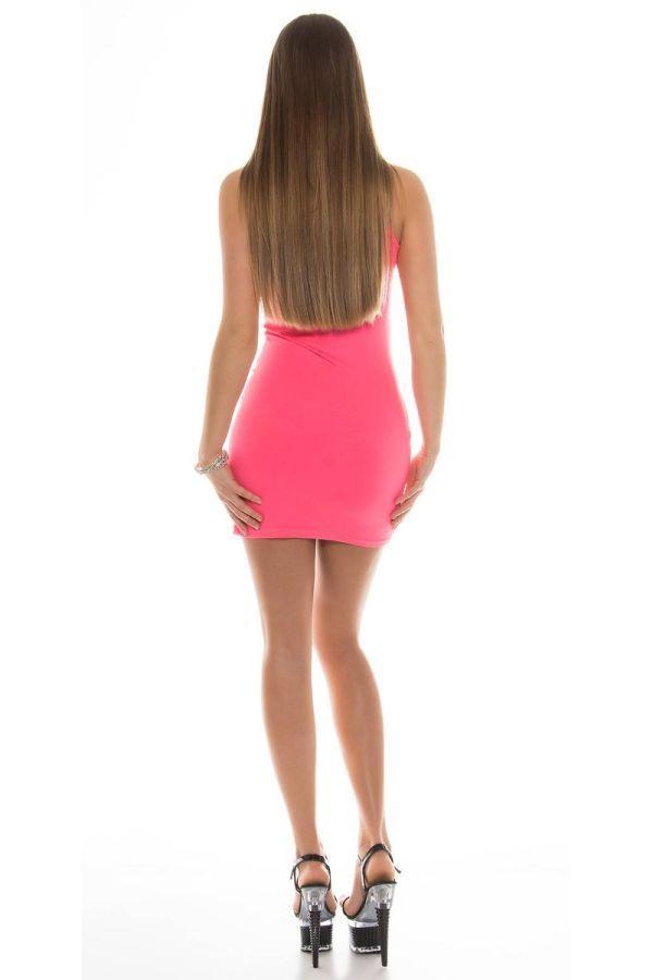Dress Gogo Sexy Transparency Neon Pink ISDK183354