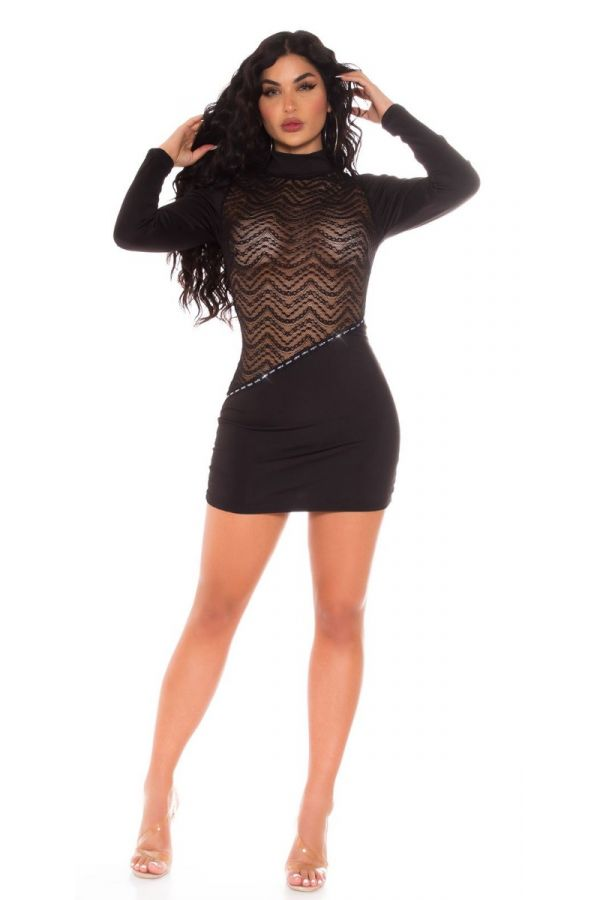 DRESS SEXY TRANSPARENCY LACE BLACK ISDK199921