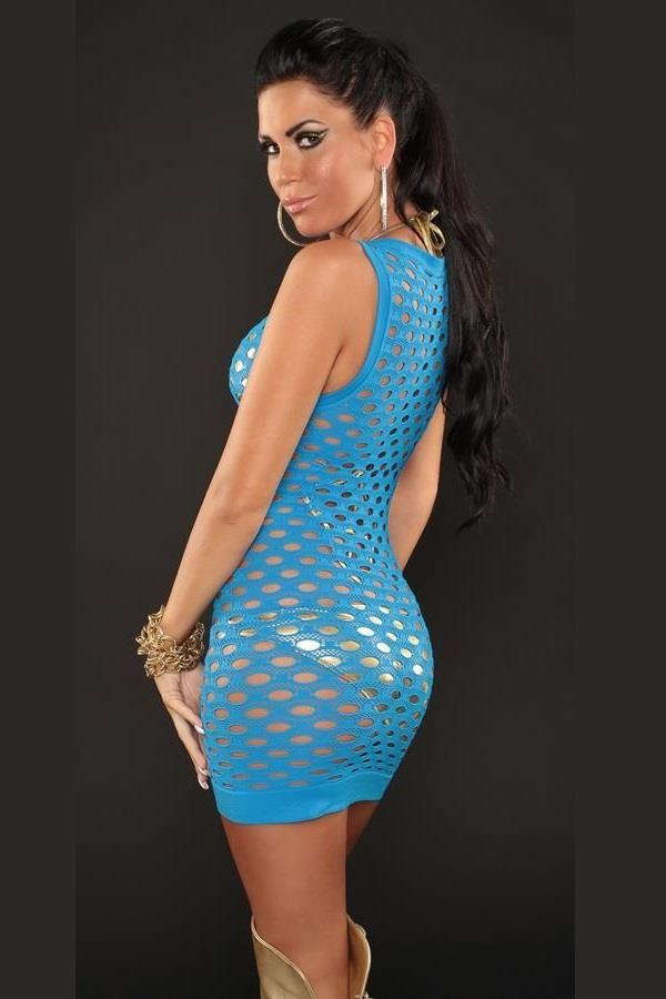 dress sexy net sleeveless turquoise.