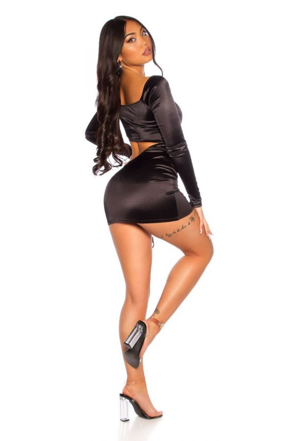 DRESS SHORT SEXY CUTOUTS BLACK ISDK203347