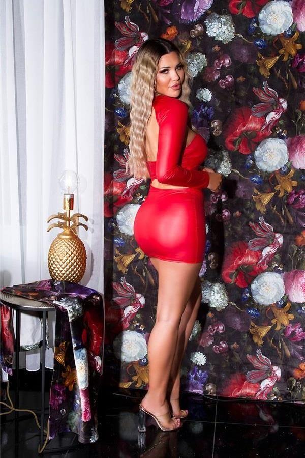 DRESS SEXY ONE SHOULDER WETLOOK RED ISDK20338