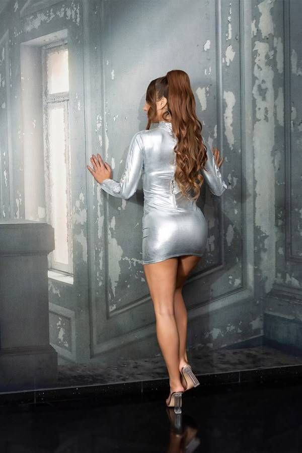 dress sexy zippers wetlook silver.