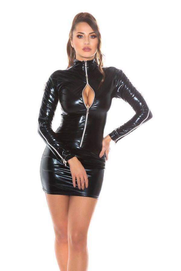 dress sexy zippers wetlook black.