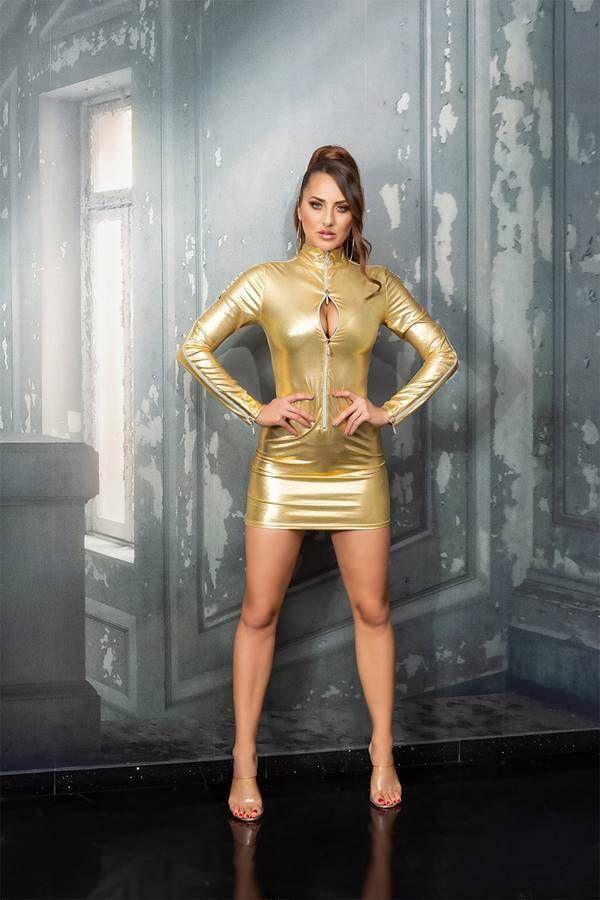dress sexy zippers wetlook gold.