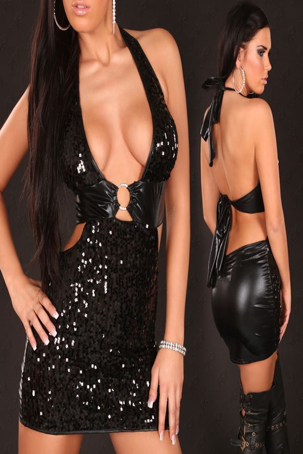 DRESS GOGO SEQUINS WETLOOK BLACK ISDK100625