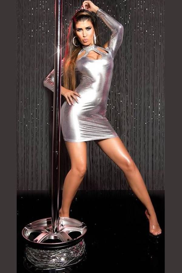 Dress Sexy Gogo Wetlook Silver ISDK89598
