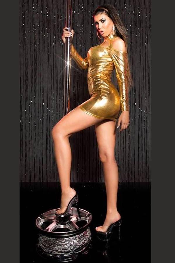 Dress Sexy Gogo Wetlook Gold ISDK89598