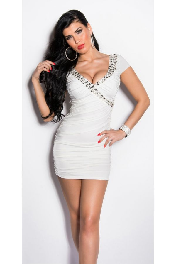 Dress Sexy Club Silver Sequins Cream ISDK90143