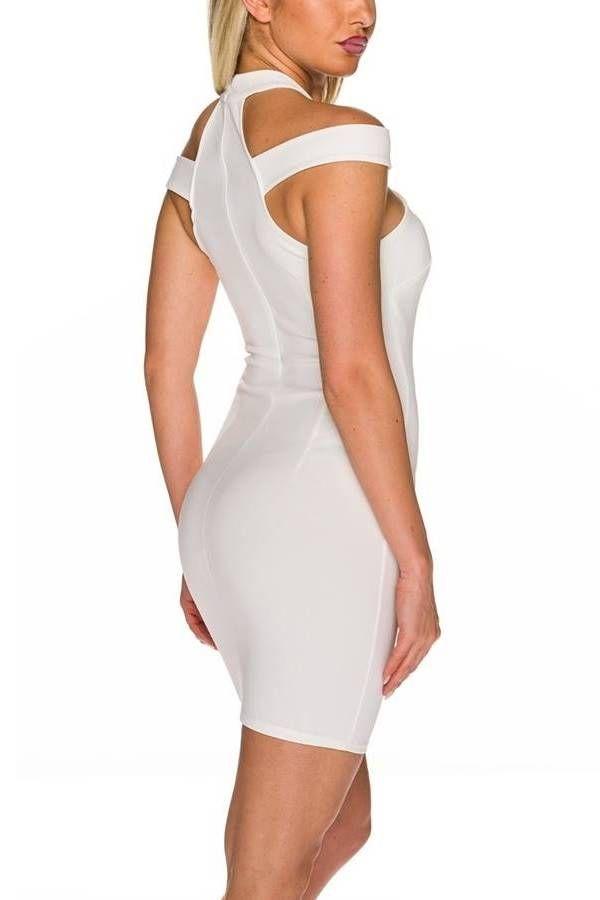 Φόρεμα Σέξι Κοντό Εγκοπές Άσπρο QQ1925425