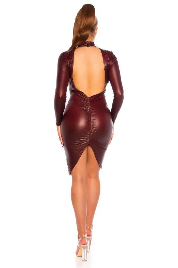 φόρεμα σέξι μακριά μανίκια wetlook μπορντό.