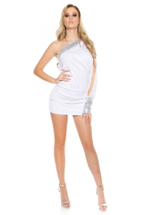 Dress Sexy Asymmetric One Sleeve Sequins White ISDK404236