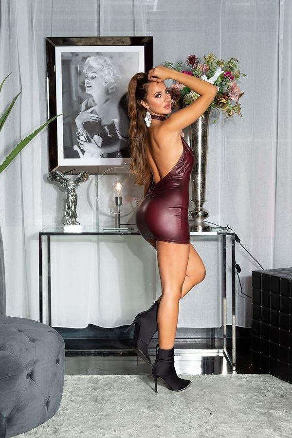 φόρεμα σέξι πλάτη wet look μπορντό.