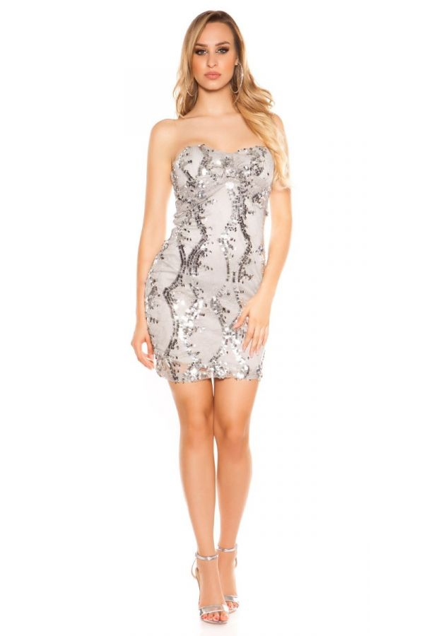 DRESS CLUB STRAPLESS LACE SEQUINS GREY ISDK88982