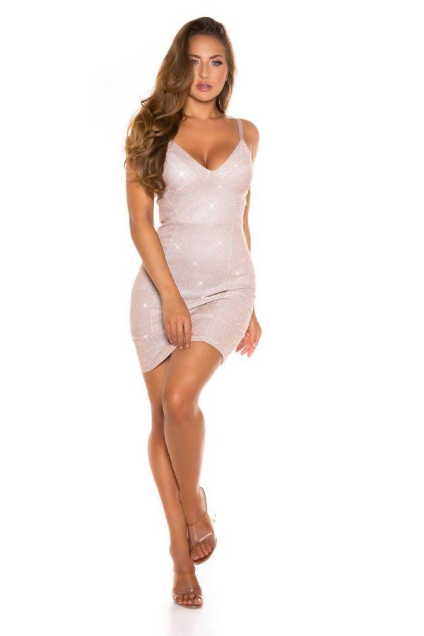 Dress Party Sexy Bodycon Metallic Pink ISDK341515