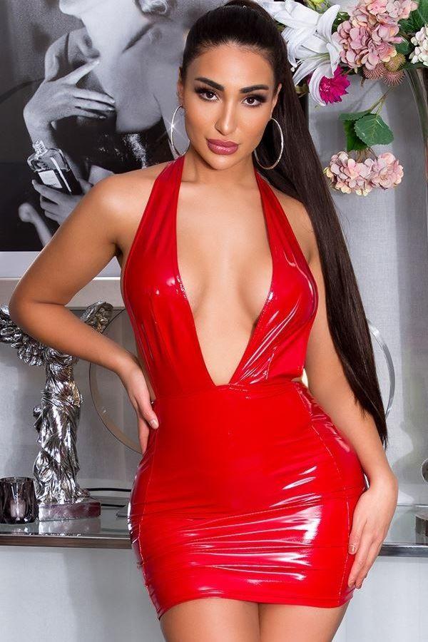dress vinyl sexy open red.