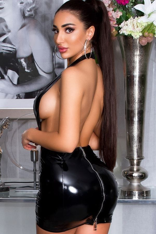 dress vinyl sexy open black.