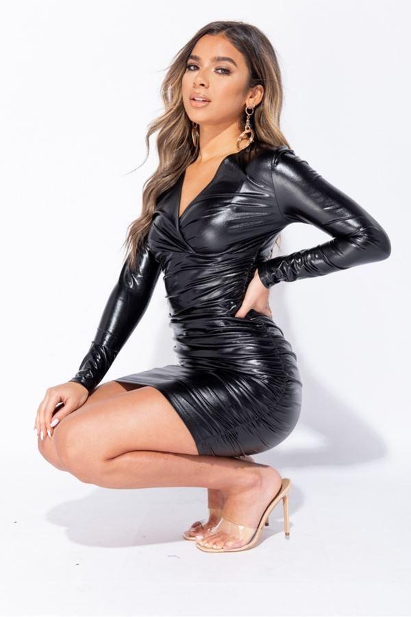 φόρεμα σέξι wet look μαύρο.