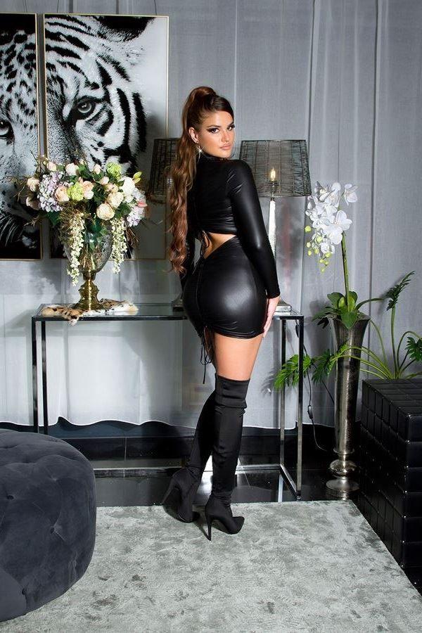 φόρεμα σέξι μακριά μανίκια wetlook μαύρο.