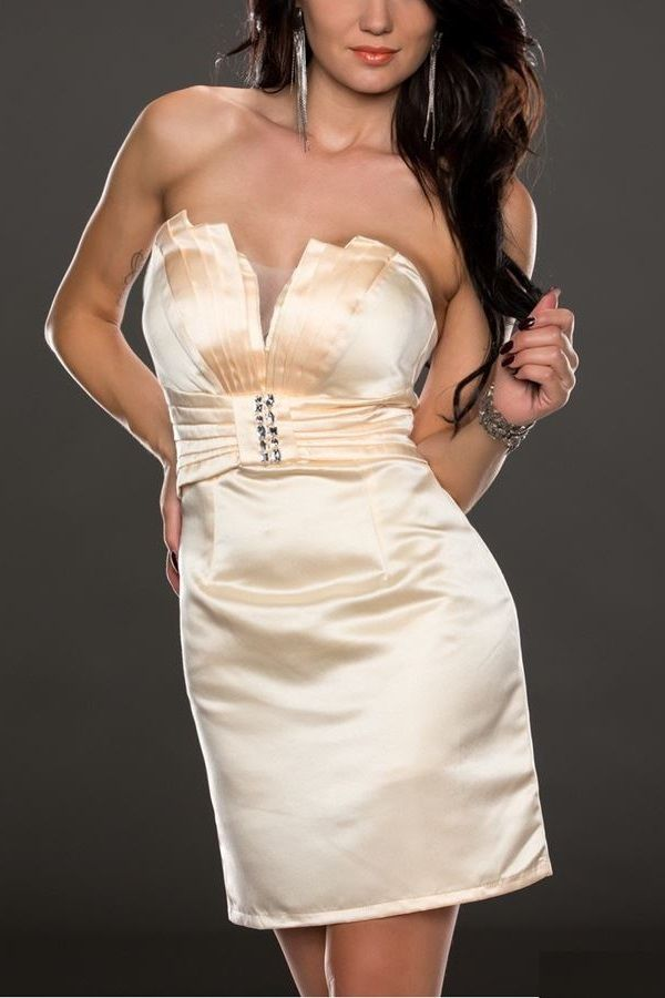 DRESS STRAPLESS CREAM Q2018961