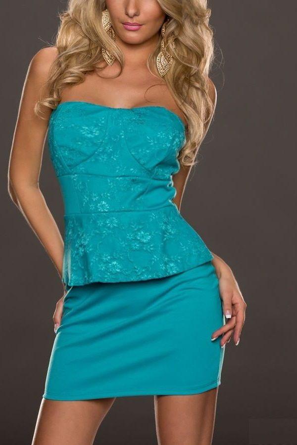 φόρεμα στράπλες πετρόλ.