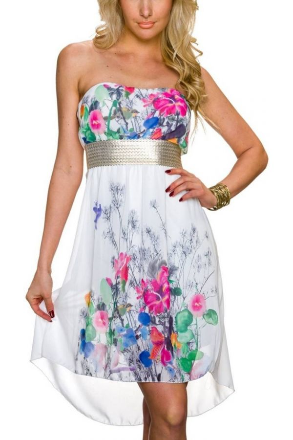 Dress Strapless Colorful Floral White TQ1623805