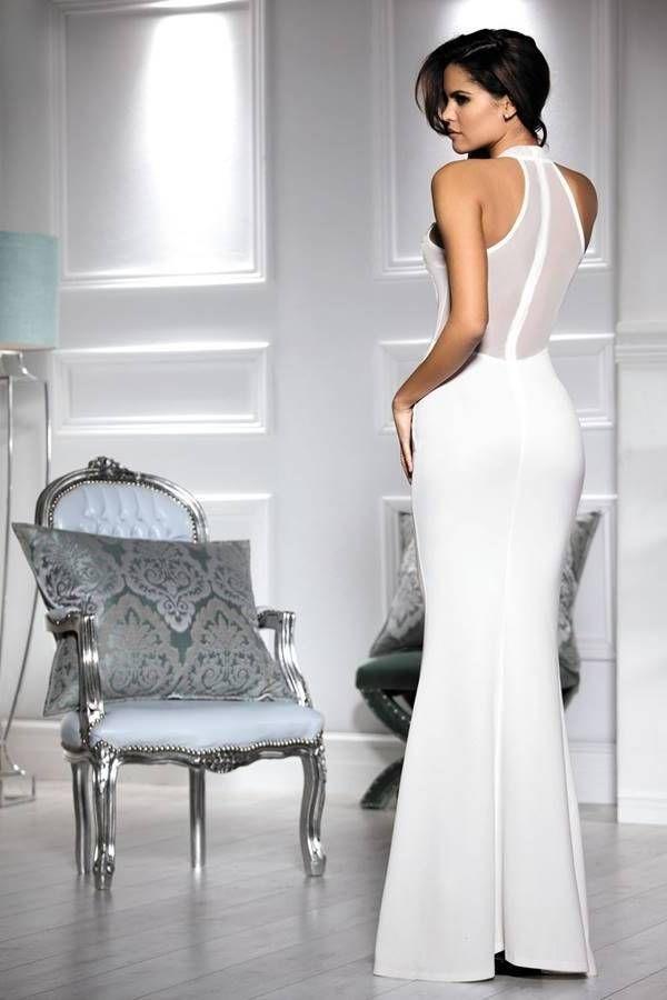 Φόρεμα Τουαλέτα Μακρύ Σέξι Διαφάνεια Άσπρο GTO1037I2
