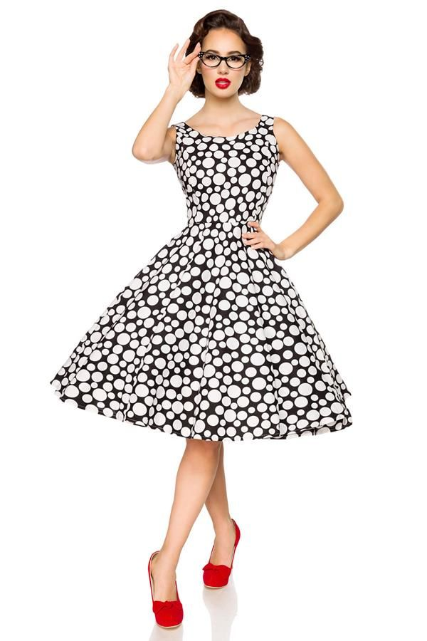 DRESS VINTAGE RETRO A DESIGN MIDI WHITE BLACK DAT2050092