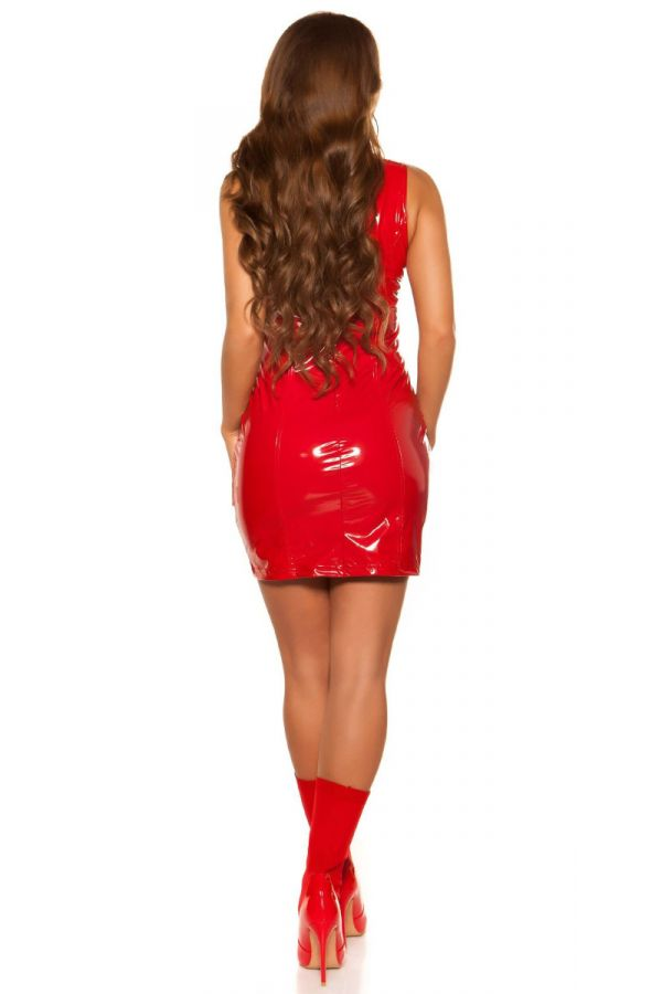 dress sexy sleeveless vinyl red.