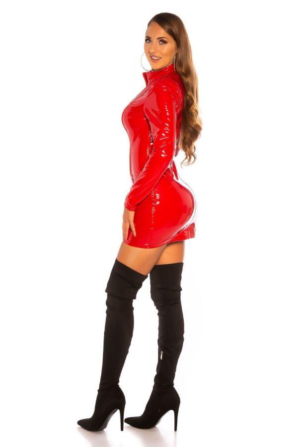 φόρεμα σέξυ βινύλιο φερμουάρ κόκκινο.