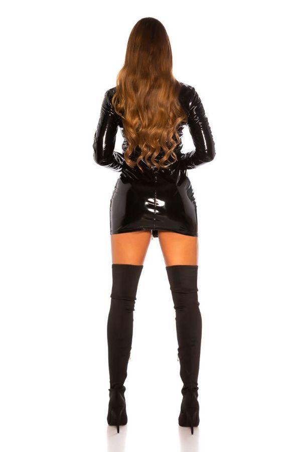 dress sexy zipper vinyl black.
