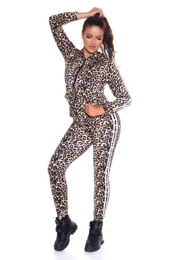 tracksuit set stripe leopard beige.