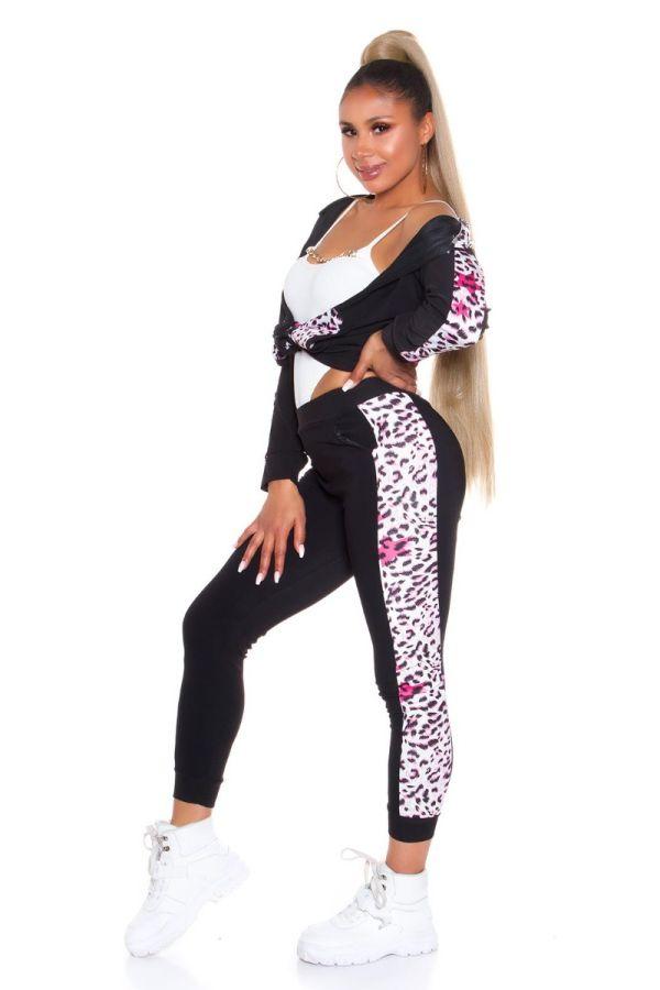 athletic gym set leopard black pink.