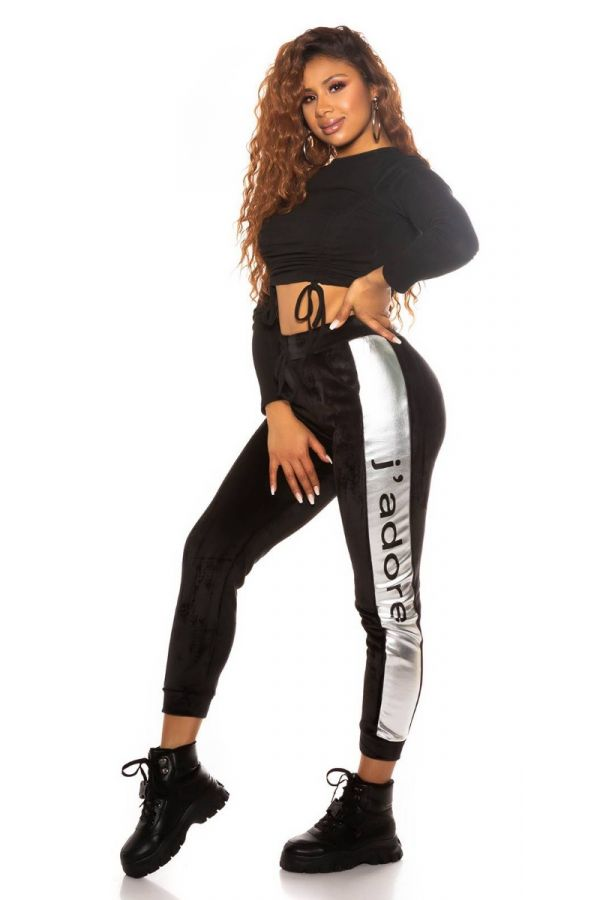 sweat pants thermo elastic waist band black silver.