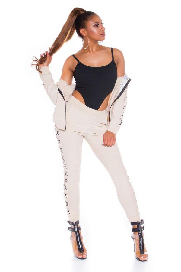 athletic gym set jacket leggings beige.