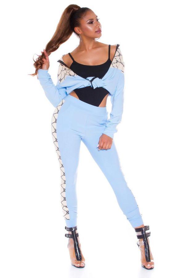 athletic gym set jacket leggings blue.